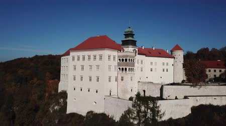 skala : Historic castle Pieskowa Skala near Krakow in Poland. Aerial spectacular view in beautiful autumn