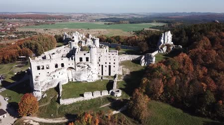 エディフィス : Aerial view of a medieval castle in Ogrodzieniec, Poland. One of the strongholds called Eagles Nests in Polish Jurassic Highland in Silesia.