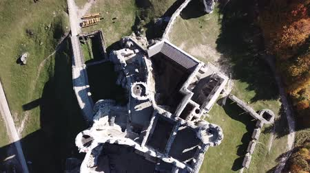 jura : Aerial view of a medieval castle in Ogrodzieniec, Poland. One of the strongholds called Eagles Nests in Polish Jurassic Highland in Silesia.