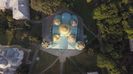 século : Aerial view to Transfiguration Cathedral oldest building in Chernihiv, Ukraine, One of the few surviving buildings of pre-Mongol Rus