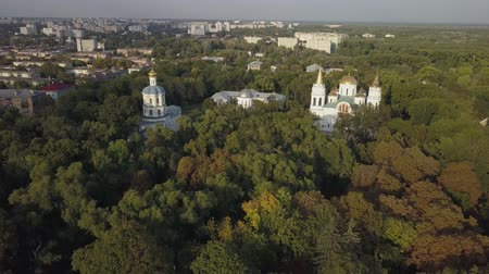 barok : Aerial view to Collegium, Boris and Gleb Cathedral and Savior Transfiguration Cathedral Churches in historical and touristic center of Chernihiv, Ukraine