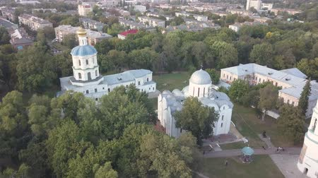architectural heritage : Aerial view to Collegium, Boris and Gleb Cathedral and Savior Transfiguration Cathedral Churches in historical and touristic center of Chernihiv, Ukraine