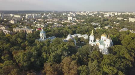 megmentő : Aerial view to Collegium, Boris and Gleb Cathedral and Savior Transfiguration Cathedral Churches in historical and touristic center of Chernihiv, Ukraine