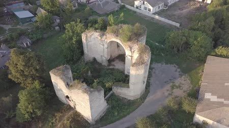 bástya : Aerial view to ruined Church of the Holy Trinity in Medzhybizh, Ukraine