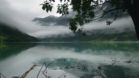 gota de chuva : Rainy Fjord in Norway Stock Footage