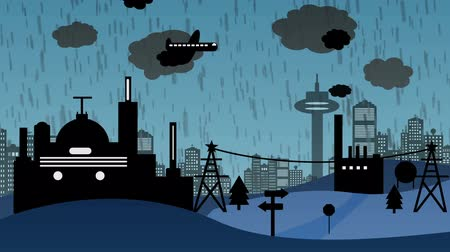 мультфильмы : Factory in Rain Cartoon Стоковые видеозаписи
