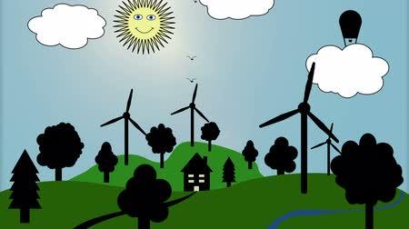 energia : Windmills in green Environment