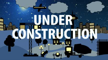 infantil : Construction Site Cartoon Night with Text