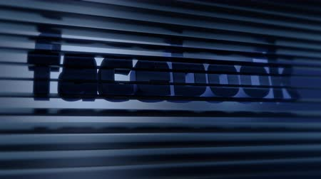 rolety : Editorial Animation: Facebook logo hiding behind blinds, privacy and monitoring issues. Wideo