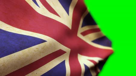 Animated 3D render or British Flag on Green Background Стоковые видеозаписи