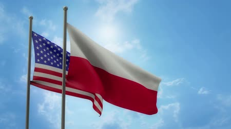 USA and Poland two flags with ALPHA channel