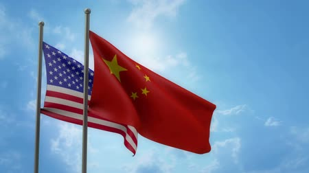 USA and China Flags in the wind with ALPHA channel Vídeos