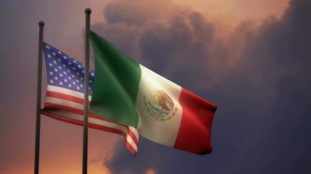 American and Mexican Flags with Alpha channel