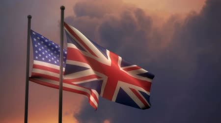 American and British Flags with Alpha channel Vídeos