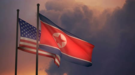 Észak amerika : America and North Korea Flag with ALPHA channel