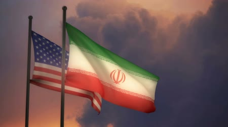 America and Iran Flags with ALPHA channel