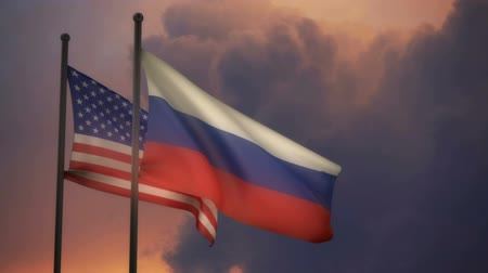 Russian and American Flags with ALPHA channel