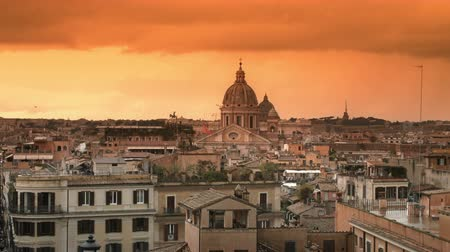 catholic cathedral : 4K Rome Skyline footage