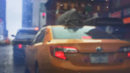 fare : NYC street scene with yellow cab Stock Footage