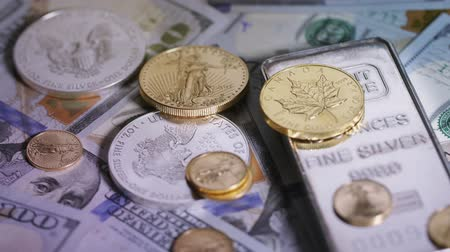 bullion : Focus on diverse precious metals and cash Stock Footage