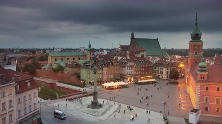 none : Old town Warsaw at twilight Stock Footage