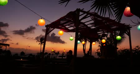 sea monkeys : A restaurant captured during a beautiful sunset in Bali.