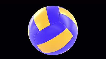 volleyball : Classic Volleyball Ball 360 rotation loop isolated on background. Sport 3d render 360 degrees looped rotation with alpha channel.