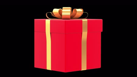 Gift Box with ribbon and silk bow. 360 rotation loop isolated on background. Marketing 3d render 360 degrees looped rotation with alpha channel. Front view.