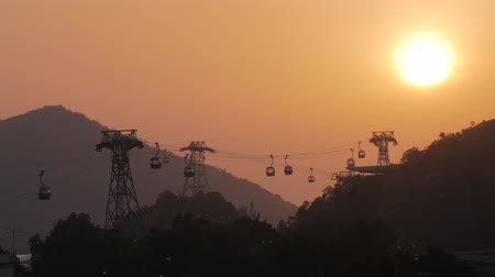 Sunset at Ngong Ping 360 cable car line