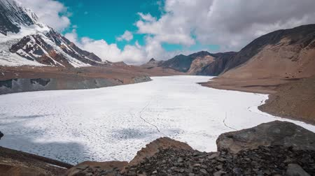Tilicho lake, Mountain, Sky and moving Clouds