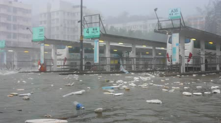 gust of wind : Hurricane Typhoon Mangkhut near bus station v1
