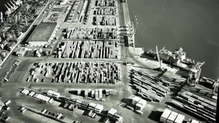 pilot in command : Infrared camera on bomber target into cargo containers in seaport. Military operation. War. Air attack. Enemy