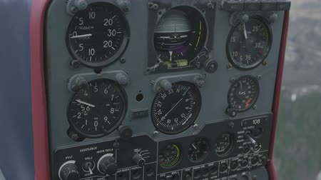 pilot in command : View at control panel of helicopter in moment of flight. Day. Transportation. Speedometer. Equipment Stock Footage