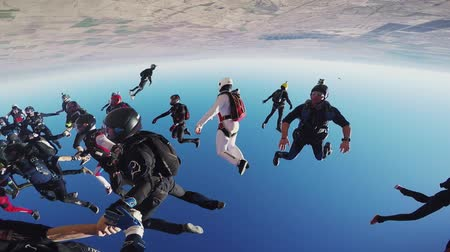 экстремальный : Professional skydivers make huge formation in blue sky. Sunny day. Extreme sport. Height