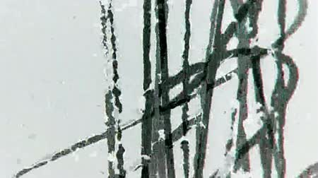 végre : Old Distorted Damaged Film Strip Vintage Footage with dust and scratches, 16mm real. Stock mozgókép