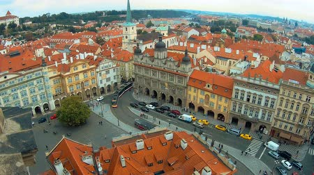 mala : Panoramic aerial view of old town mala strana, Prague Czech republic. Red tile roofs