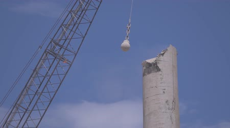 construction crane : Medium Shot Crane Wrecking Ball