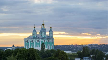 rusya : Smolensk cathedral on sunset, time - lapse video