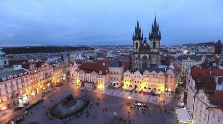 namesti : Static view on Old Town square in the evening, Prague, Czech Republic Stock Footage