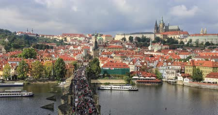 mala : Panorama of Prague Castle and Vltava river, Czech Republic