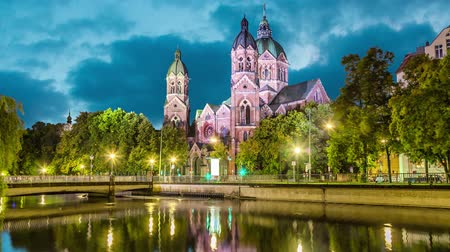 luke : St. Luke Church, is the largest Protestant church in Munich, Germany (static image with animated sky and water)