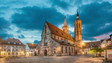 Cathedral on munsterplatz square in Villingen-Schwenningen at dusk, Germany (zoom in view)