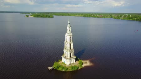 volga region : Famous flooded bell tower in Kalyazin, Tver oblast, Russia (close moving around)