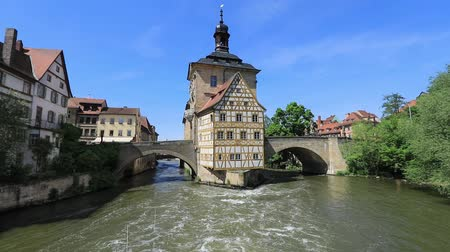 half timbered houses : Bamberg. View of Old Town Hall of Bamberg (Altes Rathaus) with two bridges over the Regnitz river, Bavaria, Germany