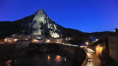 alpes : Sisteron in the evening: The Rocher de la Baume - peculiar shaped rock and bridge over Durance river, Alpes-de-Haute-Provence, France