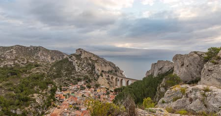 geological feature : La calanque de la Vesse - a steep-sided valley on Mediterranean coast near Marseille, Provence, France (time lapse video) Stock Footage