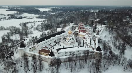 Aerial view on Savvino-Storozhevsky Monastery in winter day, Zvenigorod, Moscow oblast, Russia