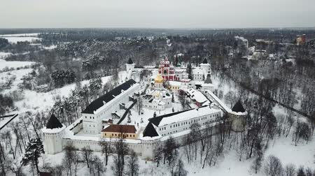 convento : Aerial view on Savvino-Storozhevsky Monastery in winter day, Zvenigorod, Moscow oblast, Russia