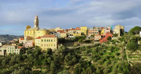 Cervo - medieval hilltop town in Liguria, Italy (panoramic view)