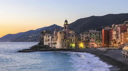 Colorful houses at dusk in Camogli resort town near Genoa, Liguria, Italy